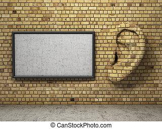 oor, in, tte, muur, met, banner., het luisteren, concept.