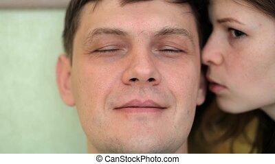 oor, vrouw, emoties, gezicht, gefluister, man's