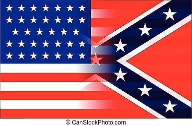 oorlog, samen, gemengde, vlaggen, cilvil, amerikaan