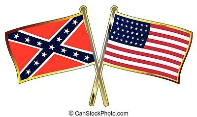 oorlog, spelden, gekruiste, vlag, civiel