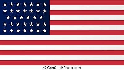 oorlog, unie, bovenkant, vlag, amerikaan, civiel