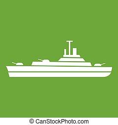 oorlogsschip, groene, pictogram