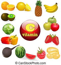 oorsprong, plant, c, voedsel, vitamine