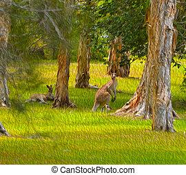 oostelijk, grijze , kangoeroes, olieverfschilderij