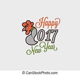oostelijk, illustratie, haan, figuren, logo, kalender, 2017