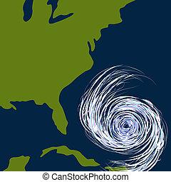 oosten, orkaan, tekening, kust