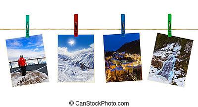 oostenrijk, bergen, ski, fotografie, op, clothespins