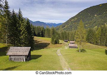 oostenrijk, herfst, hutten, houten, berg, boerderij, herfst, tirol, weide