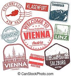 oostenrijk, set, reizen, postzegels