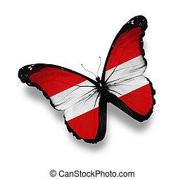 oostenrijkse dundoek, witte , vrijstaand, vlinder