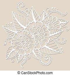 oosters, bloem, ornament
