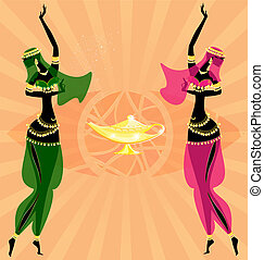 oosters, meiden, twee, dancing