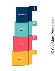 opção, banner., programa, infographic., aba, passo, vetorial, desenho, minimalistic