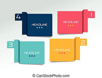 opção, banner., programa, infographic., minimalistic, quatro, vetorial, desenho, aba