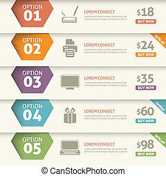 opção, e, preço, infographic