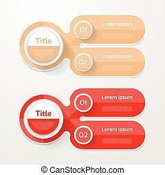 opção, elementos, banner., infographic, numere dois, mapa, 2, passos, passo, layout., desenho