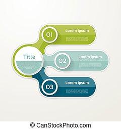 opção, elementos, banner., infographic, numere três, mapa, passos, passo, layout., desenho, 3