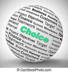 opções, escolha, tendo, ícone, decidir, -, meios, conceito, 3d, preferências, ilustração