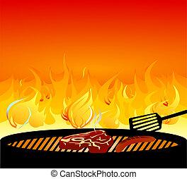 opékat na roni mříoví, oheň