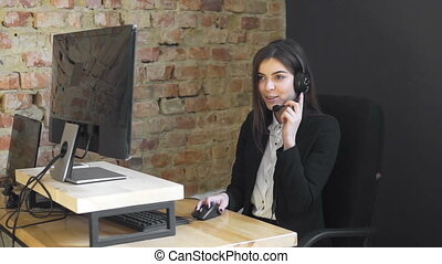 opérateur, callcenter, bureau