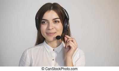 opérateur, callcenter, femme