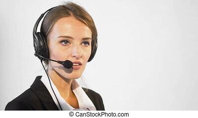 opérateur, callcenter, séduisant
