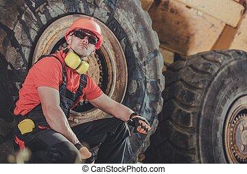 opérateur, camion, décharge mine