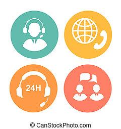 opérateur, casque à écouteurs, téléopérateur, icônes
