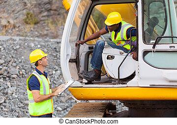 opérateur, contremaître, construction, excavateur, conversation
