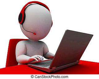 opérateur, helpdesk, projection, hotline, soutien