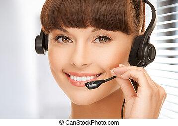 opérateur, helpline, amical, femme
