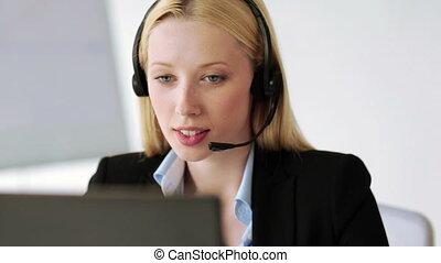 opérateur, helpline, séduisant, bureau