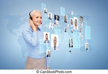 opérateur, heureux, écouteurs, femme, helpline