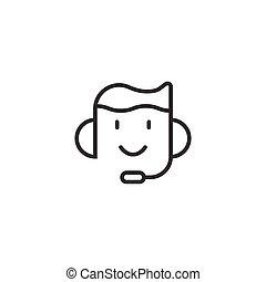 opérateur, illustration affaires, blanc, helpdesk, isolé, style., plat, bavarder, vecteur, icône, concept., casque, arrière-plan.