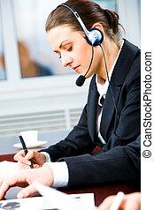 opérateur, occupé, téléphone