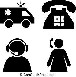 opérateur, plat, vecteur, urgence, icônes