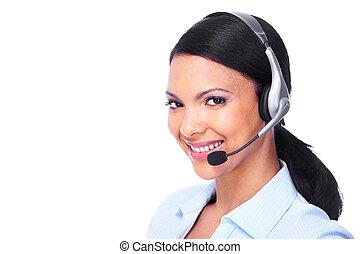 opérateur, woman., téléopérateur, business