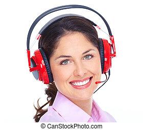 opérateur, woman., téléopérateur