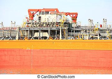 opération, chargement, port, gas-carrier