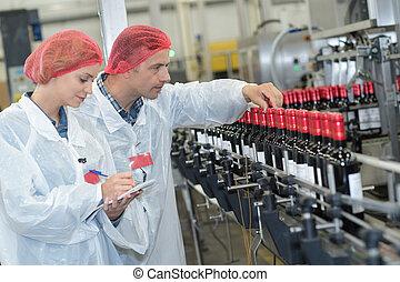 opération, ouvriers, bouteilles, usine