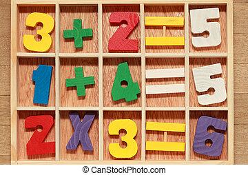 opérations, coloré, bois, âge, jeu, nombres, junior, ...