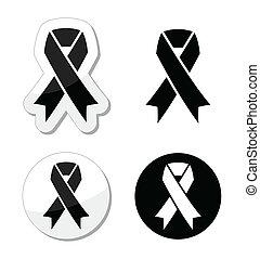 opłakiwanie, melanoma, -, wstążka, czarnoskóry