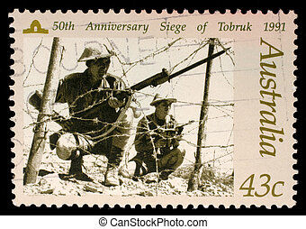 opłata pocztowa, 1991, australia, tłoczyć, -, rocznica, 1991h:, 50-th, tobruk, australijski, circa, opisywanie, oblężenie