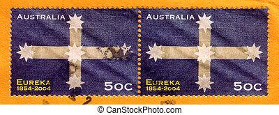 opłata pocztowa, australia, 2004, tłoczyć, uprising, -, eureka, :, palisada, odwołany, australijski, circa, 1854, opisywanie, historia