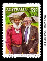 opłata pocztowa, australia, kokoda, tłoczyć, :, -, 2010,...