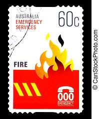 opłata pocztowa, australia, nagły wypadek, tłoczyć, :, -, ogień, 2010, odwołany, sevices, opisywanie, circa, australijski