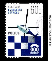 opłata pocztowa, australia, nagły wypadek, tłoczyć, :, -, policja, 2010, odwołany, służby, opisywanie, circa, australijski
