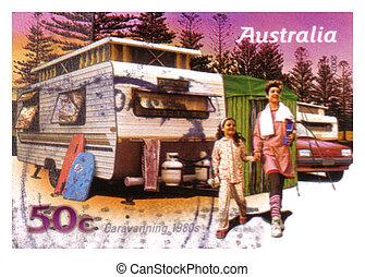 opłata pocztowa, australia, tłoczyć, :, -, caravanning, 1980s, odwołany, przez, 2007, lata, australijski, circa, opisywanie