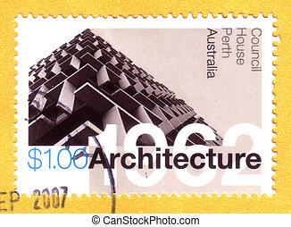 opłata pocztowa, australia, tłoczyć, dom, punkty orientacyjny, -, :, perth, 2007, rada, odwołany, australijski, circa, opisywanie, architektura
