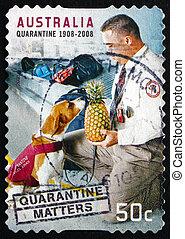 opłata pocztowa, australia, tłoczyć, kwarantanna, treści, 2008